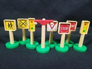 Kidkraft Toy Railroad Train Car Street Playset Signs Lot 8 Plastic Signs