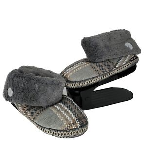 New Muk Luks Melany Slipper Boot with Faux Fur Cuff Gray Plaid Size 11