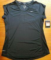 Nike Women's Miler V-Neck Running Training Shirt Black 519831 010 Size L New!