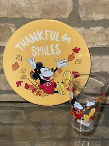Pottery Barn Mickey Mouse Disney Plate cup set Thanksgiving thankful for smiles