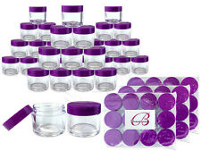 30 Pieces 30 Gram/30ml Plastic Clear Sample Jar Containers with Purple Flat Lids