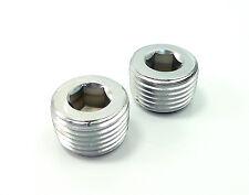"""GAR-31573-2 Pair 1/2"""" NPT Pipe Thread Allen Head Plug Chrome Plated Steel"""
