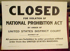 Closed for Violation of Prohibition U.S. Marshal Sign