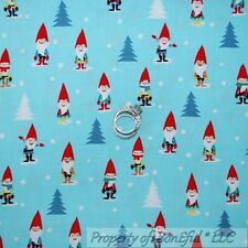 BonEful Fabric FQ Cotton Quilt Blue White Red Calico Snow Sm Xmas Tree Gnome Elf