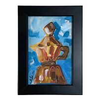"""PAINTING ORIGINAL ACRYLIC ON FIBERBOARD (FRAME INCLUDED) 4x6"""" CUBAN ART by LISA."""