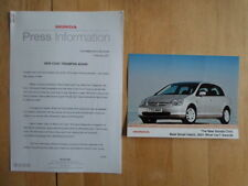 HONDA CIVIC BEST SMALL HATCH orig 2001 UK Mkt Press Release + Photo - Brochure