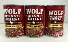 3X Cans Wolf Brand Authentic Texas Recipe Chili With Beans 15oz Ex 2018 Seasonal