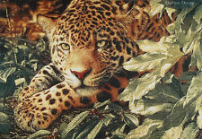 """42"""" WALL JACQ. WOVEN TAPESTRY Leopard in Jungle WILD CAT WILDLIFE ANIMAL PICTURE"""