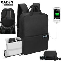 Waterproof Camera Bag Backpack for Canon Nikon Sony Leica DSLR USB Raincover
