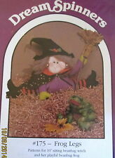 "Vtg 90s Dream Spinners Hallween Witch doll beanbag 10"" & stuffed frog pattern"