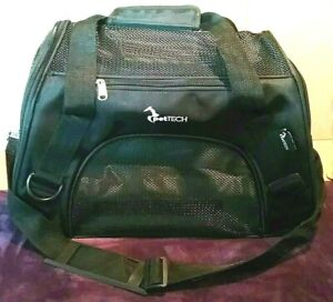 PetTech Pet Carrier for Small Animals Collapsible Black Breathable Mesh 2 Handle