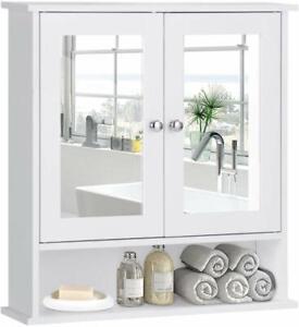 Bathroom Wall Mounted Cabinet Shelf Bath Kitchen Mirror Door Storage Organizer