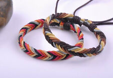 2PCS Surfer Colorful Handmade Hemp Leather Braided Unisex Bracelet Bangle Cuff K
