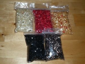 158g OF ASSORTED 4mm RESIN SPARKLE CRYSTALS by TOTALLY BEADS - NEW - (A)