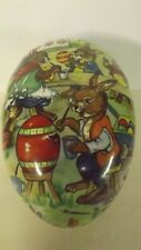 "New 9 1/2"" German Fillable Paper Mache Egg Bunny Family Painting Eggs"