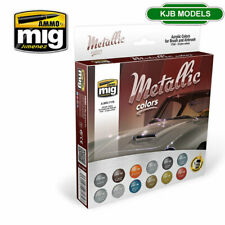 More details for ammo by mig mig7175 metalic colours acrylic paint set