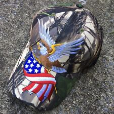 BALD EAGLE W/AMERICAN FLAG PATRIOTIC EMBROIDERED BASEBALL CAP HAT HT-4 CAMO -F