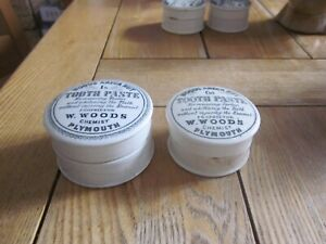 2 X WOODS TOOTHPASTE POT LID & BASE PLYMOUTH 1S & 6D VERSIONS