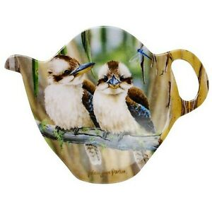 1 x Australian Souvenir Tea Bag Holder Spoon Rest Fauna Kookaburras Dragonfly