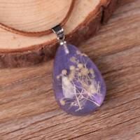 Dried Flower Water drop Glass Glow In The Dark Pendant Necklace Women Jewelry
