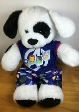 Build a Bear white dog with black spots with Avenger pajamas.