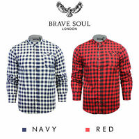 Brave Soul Mens Check Shirt Long Sleeve with Round Grandad Collar