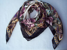 """Cejon Scarf 35"""" x 36"""" Almost  Square Floral Colorful Pink Roses Semi Sheer Large"""