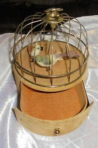 VINTAGE  SINGING BIRD CAGE BIRD AUTOMATON WIRE & VELVET-Drawer