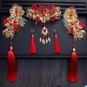 Chinese Wedding Bride Headdress Suit Ancient Costume Hair Tassel Headdress Wen99