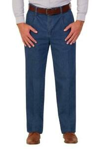 Mens pleated smart formal denim chino trousers chino jeans retro 100% cotton