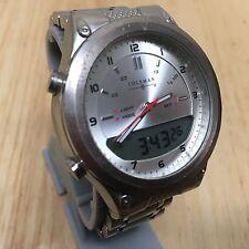 Vintage Coleman Mens Silver Analog Digital Quartz Chrono Watch Hours~New Battery