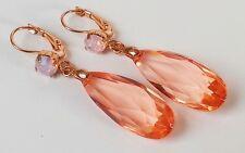 Chandelier Ohrhänger Ohrringe Strass Acryl Tropfen rosa apricot pfirsich gold