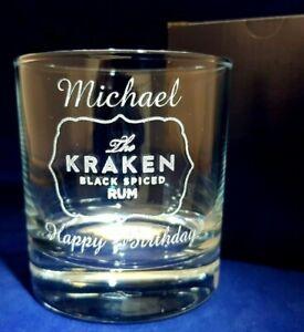 PERSONALISED ENGRAVED KRAKEN RUM GLASS TUMBLER GLASS SPICED RUM GIFT BOXED