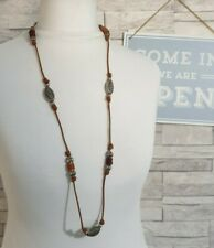Long Cord/String Necklace Silver Carved Beads Hippie/Boho Costume Jewellery