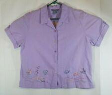 purple Shirt Petite Size XL PXL Blouse KORET Embroidered Top Beach Ocean