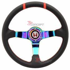 350mm Racing Steering Wheel Black Carbon Look Neo Spokes Deep Dish W/ Emblem