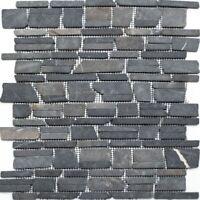 Mosaik Fliese Marmor Naturstein beige schwarz Bruch Ciot BianconeJava MOS44-30-110