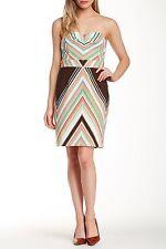 NWT Trina Turk Cora Strapless Striped Brown Coral Cotton Fall Dress Size 8 $258