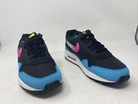 Nike Mens Air Max 1 Casual Shoe Black/Laser Fuchsia/ Blue Fury Size 8.5M US