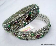 victorian 14k gold silver bangle bracelet diamond ruby emerald gemstones