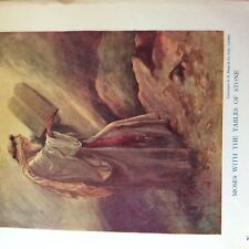A1b ephemera book plate moses with the tables of stone