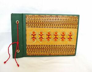 Vintage photo album Bulgarian pyrography wood & fabric Handmade book bound