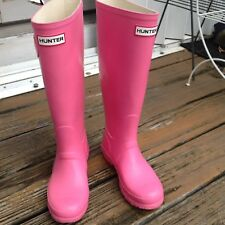 Hunter Pink Wellies Tall Rain Boot Galoshes W5 M4 UK3 EU35 36 Rubber Shoes Women