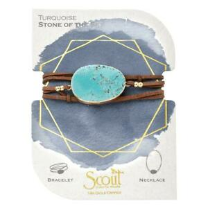 Scout TURQUOISE GOLD Suede & Stone BRACELET NECKLACE beads Jewelry Wrap SL001