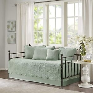 Seafoam Green 6 pc Twin Daybed Set Embroidered Cover Farmhouse Country Bedding