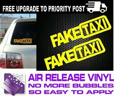 2x FAKE TAXI Sticker Decals Funny JDM Drift Turbo Hoon Race Car