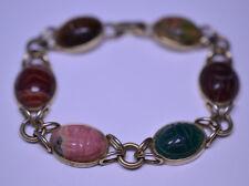 Vintage Krementz Genuine Stone 6 Scarab Fancy Link Bracelet Banded Agate Unakite