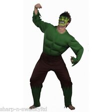 Mens Green Giant Incredible Hulk Muscle Halloween Fancy Dress Costume Outfit