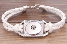Handmade DIY rhinestone nosa white lether bracelet fit chunk snap button j3418