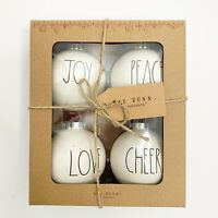Rae Dunn Christmas Ornaments Set of 4 JOY PEACE LOVE CHEER White 2020 NEW!